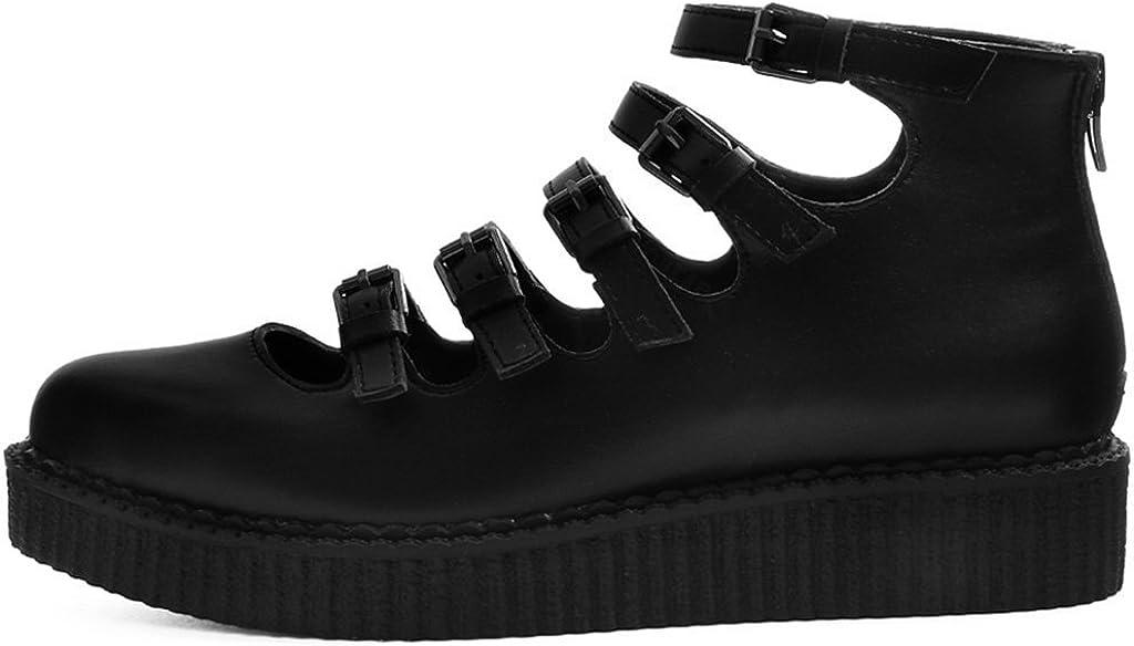 Shoes Womens Black Tukskin Multi Strap Pointu T.U.K
