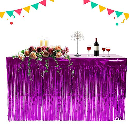 Purple Metallic Foil Fringe Table Skirt Banner Tinsel Party Table Cover Hawaiian Decoration Holiday Supplies