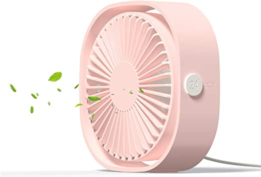 USB Small Fan Personal Quiet USB Desk Fan Mini Silent Adjustable Fan with 5-Speed for Home Office Outdoor Convenient Mini Color : Pink, Size : One Size