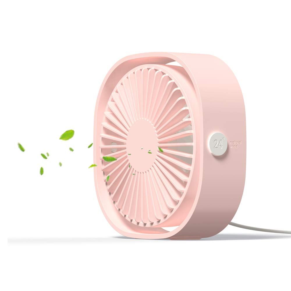 USB Table Fan Portable Mini Personal Desk Fan with 360 Rotation and Adjustable 3 Speed for Office, Travel by Warrita