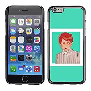 SoulCase / Apple Iphone 6 / Mint Hipster Girl in Stripes Painting / Slim Black Plastic Case Cover Shell Armor