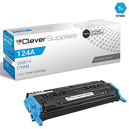 (CS Compatible Toner Cartridge Replacement for HP 2600 Q6001A Cyan HP 124A 1600 2600 2600N 2600DN 2605 2605DN 2605DTN CM1015 CM1015MFP CM1017 CM1017MFP)