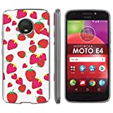 "Motorola Moto E [4th Gen] TPU Silicone Phone Case [Mobiflare] [Clear] Ultraflex Thin Gel Phone Cover - [Strawberries] for Moto E4 [Moto E 4th Gen] [5"" Screen]"
