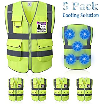 Mintiant 5 Pack Reflective High Visibility Safety Vest, Cooling Vest, Ice Vest, High Reflective Visible Silver Strip,free Ice packs, Volunteer, Guard, Construction Protector with Zipper (X-Large)