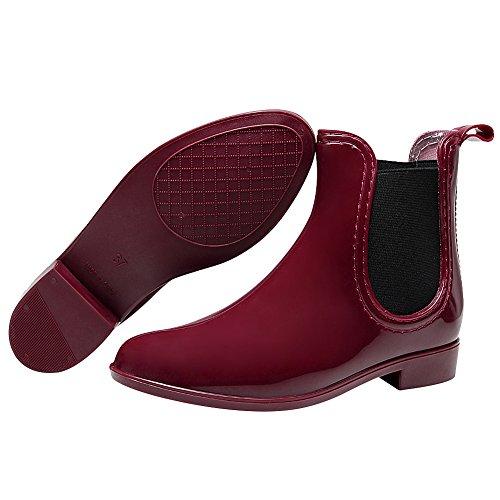 Rismart Mujeres Classic Version Botines De Lluvia Impermeables Chelsea De Color Rojo Vino