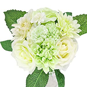 Artificial Flowers, Fake Flowers Silk Plastic Artificial Roses 8 Heads Bridal Wedding Bouquet for Home Garden Party Wedding Decoration 52