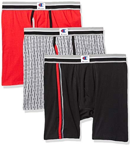 Champion Men's Everyday Comfort Cotton Stretch Boxer Briefs 3-Pack, Ebony/Scarlet/Grey Heather Print Medium