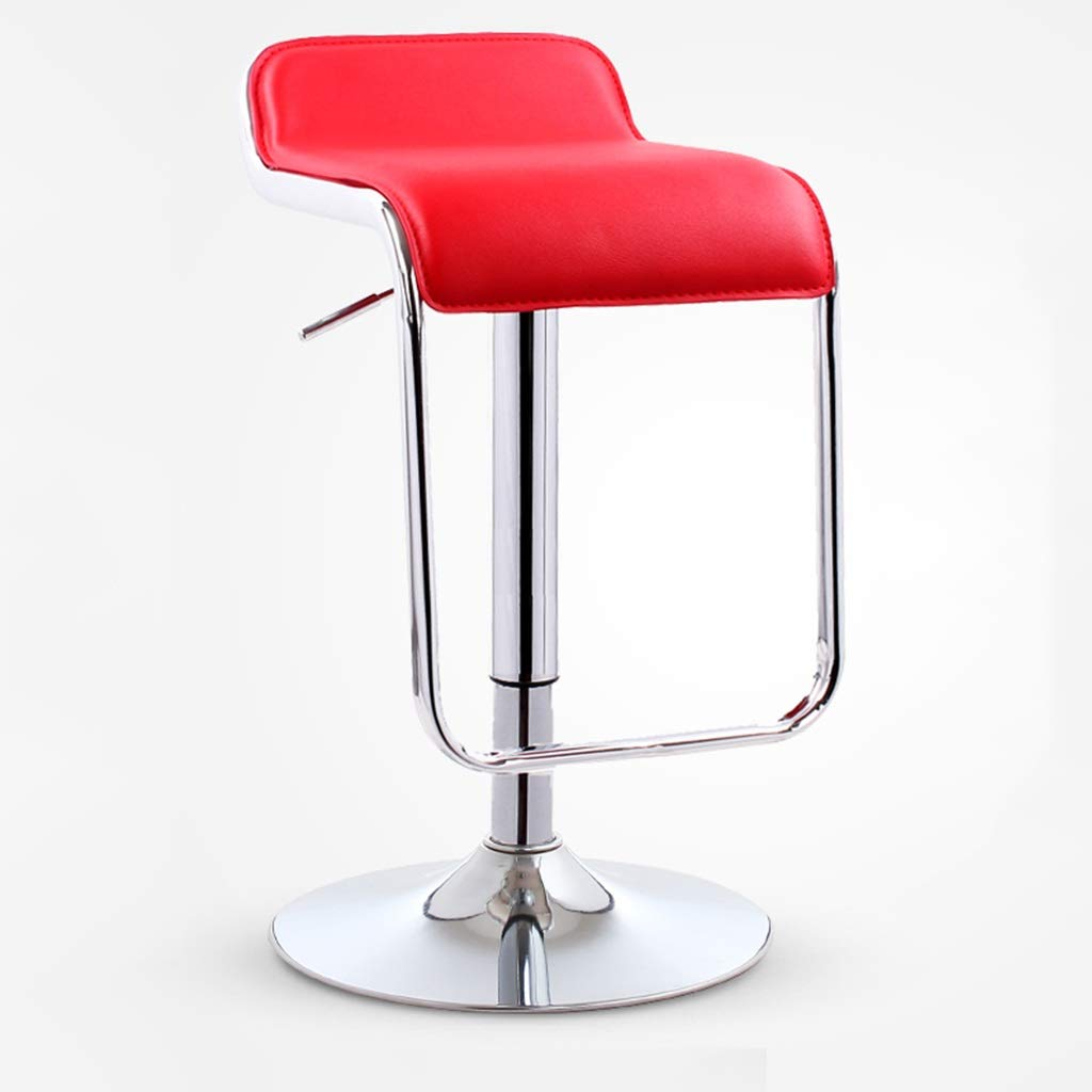 Red Chassis 38.5cm Bar High Foot Stool Modern Simple Metal Leather Seat redate Chair Lift Cafe Counter Restaurant Leisure Household 0527A (color   Dark Green, Size   Chassis 38.5cm)