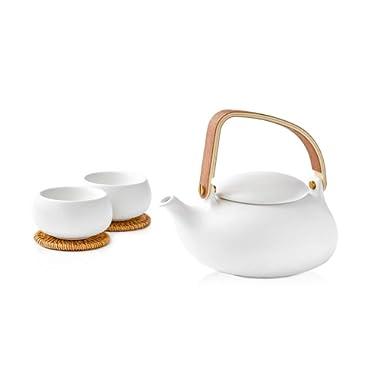 ZENS White Tea Set, Ceramic Teapot Set Gift, 28 OZ/ 800 mL Tea Infuser Pot, 2 Double Wall Teacups & Coasters, Smooth Matte Texture for Flower Loose Tea Oolong Puer Tea