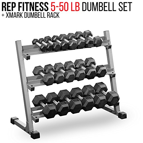 Rubber Dumbbell Set: Rep Rubber Hex Dumbbell Set With Racks, 5-50 Dumbbell Set