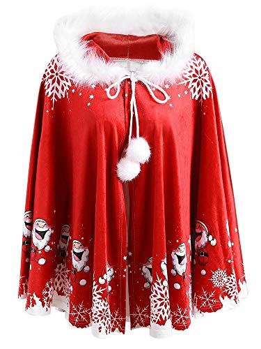 (Hattfart Women's Christmas Santa Claus Print Matching Family Velvet Hooded Cape Santa Coat (Free,)