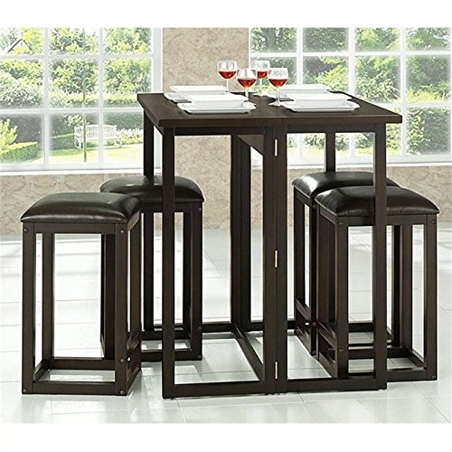 Bowery Hill 5 Piece Counter Height Dining Set in Dark Brown