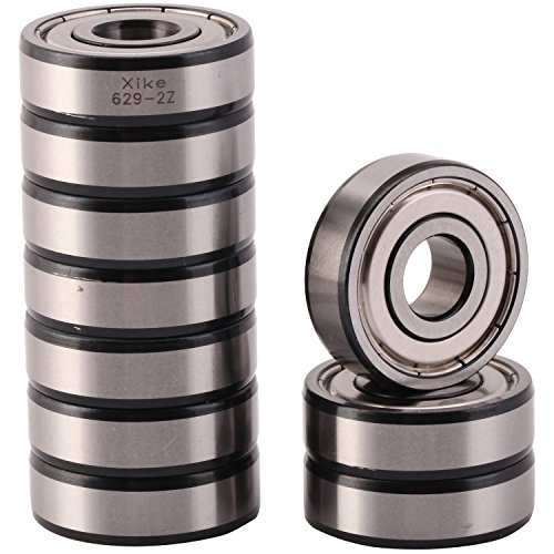 XiKe 10 Pack 629ZZ Precision Bearings 9x26x8mm, Rotate Quiet High Speed and Durable, Double Shield and Pre-Lubricated, Deep Groove Ball Bearings. by XiKe