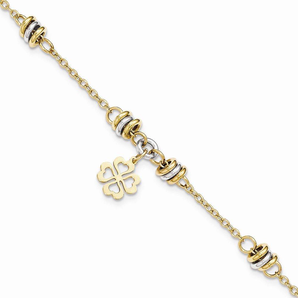 14k Two-tone Polished 7.5in Four Leaf Clover Bracelet