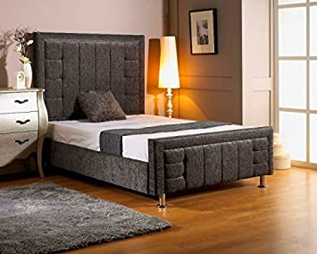 Lazybeds Laura Double High Headboard Chenille Bed Frame Amazonco