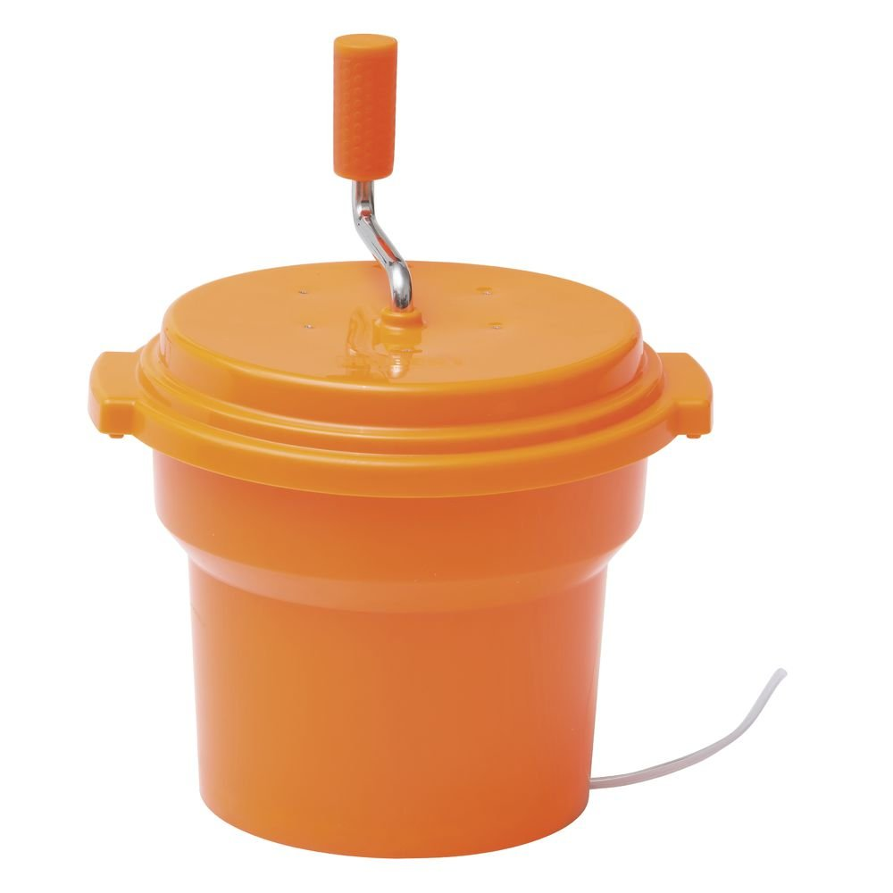 Hubert Salad Spinner with Brake 2.5 gal Orange Plastic - 15 3/4''Dia x 13''H by HUBERT