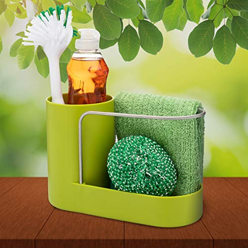 Convenient Kitchen Sink Organizer, Sink Caddy, Sinkware, Sponge Holder, Soap Dish, Brushes and Scrubbers Holder, Bathroom Caddy, Bathroom Organizer | 2 Top Quality Sponges FREE by SKA HomeStore (Image #1)