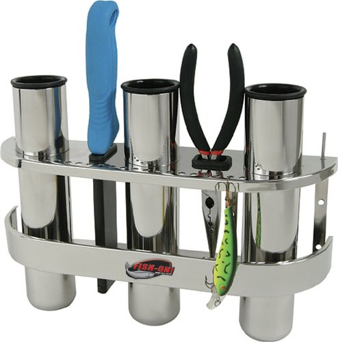 Three Rod Tournament Rack - BoatMates Stainless 3 Rod Organizer