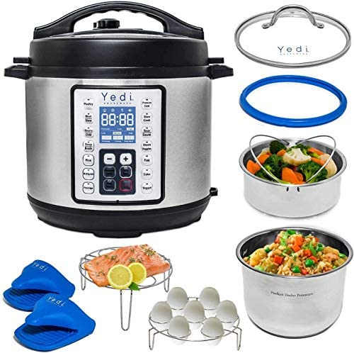 Yedi 9-in-1 Total Package Instant Programmable Pressure Cooker XL, 8 Quart, Deluxe Accessory package, Recipes, Pressure Cook, Slow Cook, Rice Cooker, Yogurt Maker, Egg, Sauté, Steamer, Stainless Steel