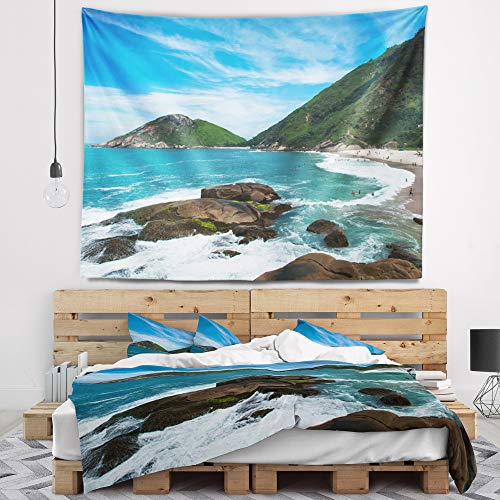 Designart TAP8768-92-78 Praia Do Meio Beach Wall Tapestry, X-Large/92 x 78