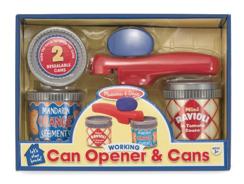 Melissa Doug Can Opener And 2 Resealable Cans Play Kitchen Accessories New