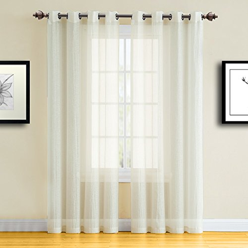 "Warm Home Designs Pair of Full Width, Standard Length 55"" x 84"" Beige Color Semi-Sheer Crushed Window Curtains. Semi Sheer Drapes Allow Light In, While Giving Some Privacy. RI Beige 84"