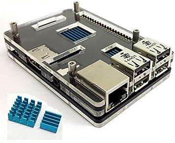 NorthPada Caja + 2 x Disipador de Calor para Raspberry Pi 3 Model B Pi 2 Model B Pi Model B+: Amazon.es: Electrónica