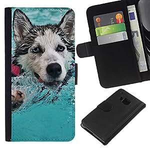 NEECELL GIFT forCITY // Billetera de cuero Caso Cubierta de protección Carcasa / Leather Wallet Case for HTC One M7 // Feliz Husky