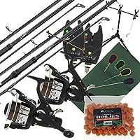 2x carpe Seeker pêche tiges+2x Max 40 2BB rouleaux + 2x VX1 ALARME + SESSION TIGE pied + quickfish Tapis + 4PC Tools & BOUILLETTES
