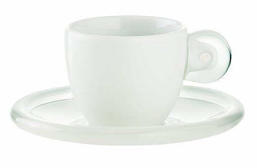 2 opinioni per Guzzini Gocce Set 6 Tazzine Caffe con Piattino, Porcellana, Trasparente,