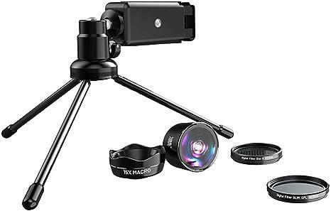 JLC Smartphone Fotografía Equipo con telefono trípode Kit de Lentes 5 en 1 Ojo de pez,