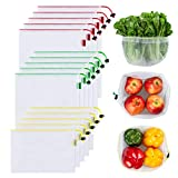 Ecowaare Set of 15 Reusable Mesh Produce Bags - Eco-Friendly - Washable and See-Through - with Colorful Tare Weight Tags - 3 Sizes: more info