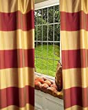 Red & Amber 6″ Checkered Faux Silk Top Pole Pocket Lined Window Treatment Curtain Panel (52″W X 96″L)