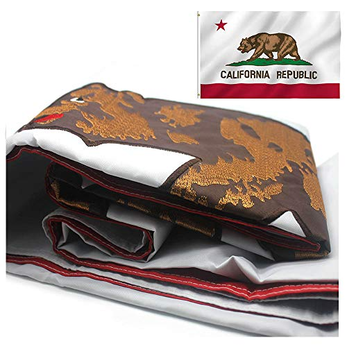 Nylon California State Flag - VSVO California Republic Bear State Flag 3 x 5 ft with 2-Sided Embroidered Durable 300D Nylon for Outside- Sewn Stripes - Brass Grommets - UV Protection-Californian CA State Flags