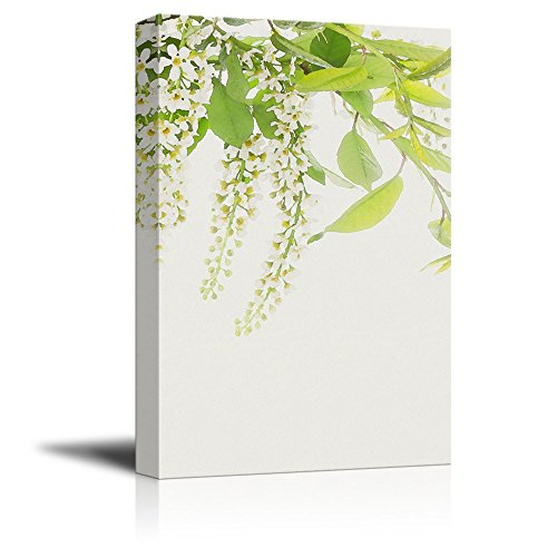 Green Leaves and White Flowers on Tree Branch