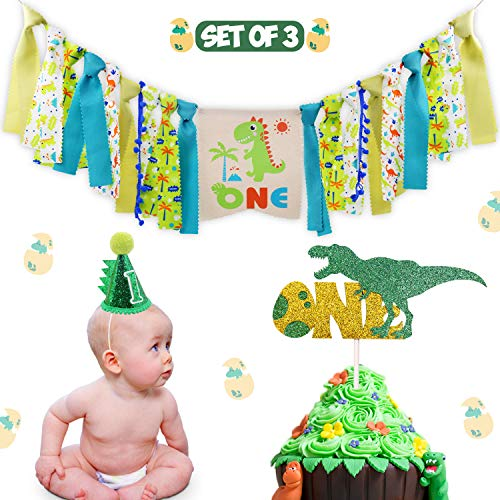 (Dinosaur Theme 1st Birthday Decorations Kit Set of 3- One Burlap High Chair Banner- Baby Dino Cake Smash Party Supplies- Glitter Green Felt 1st Birthday Hat- T-Rex Cake)