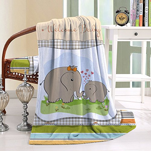 HAIXIA Throw Blanket Elephant Nursery Mother and Baby Affectionate Caring Mammal Family Togetherness Multicolor