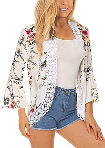 Chunoy Women Casual Floral Print Lace Trim Bell Sleeve Kimono Cardigan Cover Up White Medium