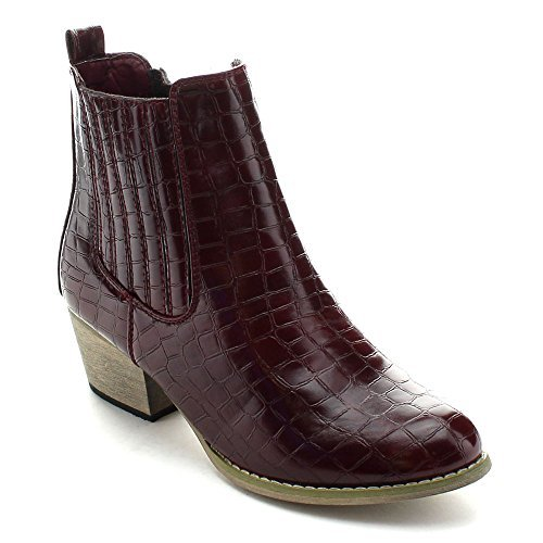 NATURE BREEZE MONTANA-02 Women's Snake Elastic Faux Wooden Chunky Booties, Color:WINE, Size:8