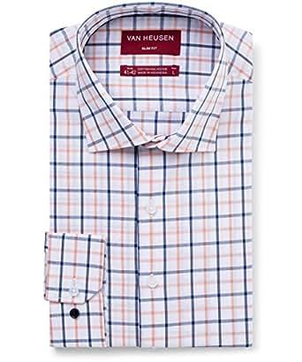 Van Heusen Men's Slim Fit Shirt Check, Tangerine/Indigo, Small