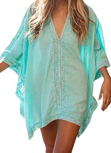 Queenmore Women´s V Neck Plus Size Bikini Cover Ups with Sleeve Beach Dress Mint