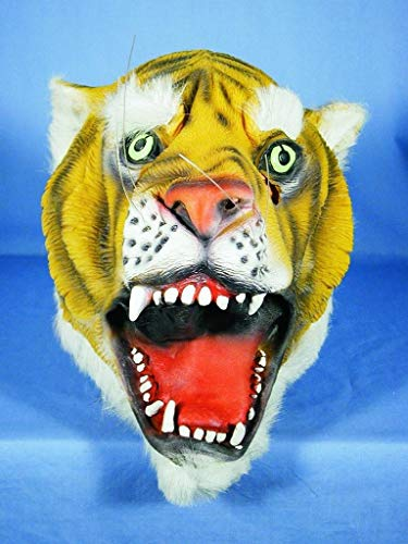 HMS Tiger Mask with Faux Fur Trim, Brown, One Size -