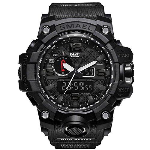 - IRELOJ Men's Large Face Dual Dial Analog Digital Quartz Military Sport Watch 164FT Water Resistant-Black