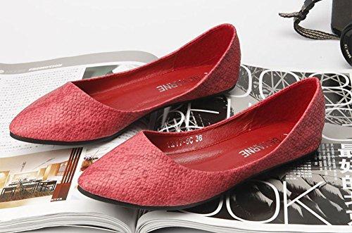 Avacostume Da Donna Classico A Punta Serpente Slip On Flats Rosso