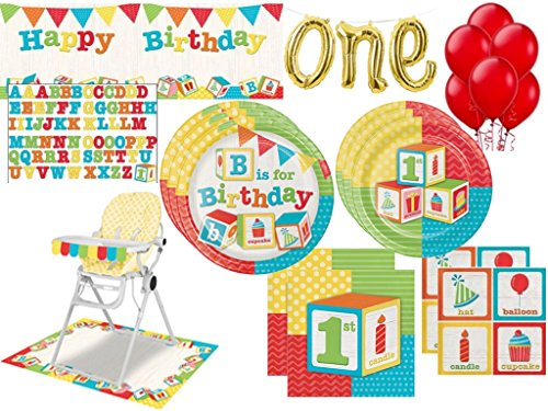1st Birthday ABC Blocks Birthday Party Supplies Kit Including Plates, Napkins, Giant Party Banner, Balloon Banner & High Chair Decoration Kit (131 Pcs)