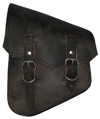 La Rosa Harley-Davidson Softail & Rigid Vintage Style Rustic Black Leather Left Swing Arm Saddlebag ()