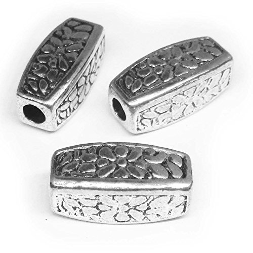 Silver Tone Hollow Pattern Tube Spacer Connector 12mmX5mm (Silver Tone Tube)