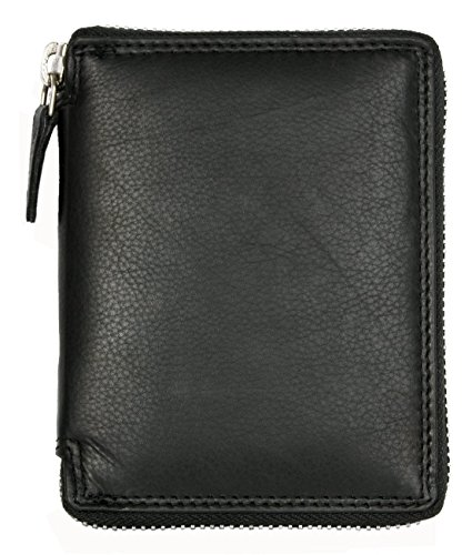 Men's Metal Zipper (Zip-around) Black Leather Wallet Kabana