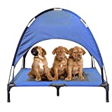 JANMO Pet Bed Dog Foldable Indoor and Outdoor Cot Tent Canopy Shelter (L, Blue) For Sale