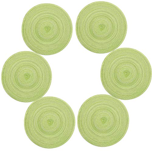 Topotdor 14 Inch Round Placemats Heat-Resistant Stain Resistant Anti-Skid Washable Polyproplene Table Mats Placemats (Set of 6, Green) (Set Table Dining Green)